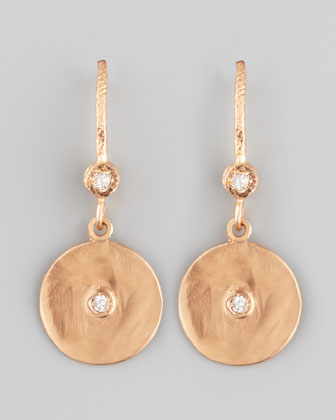 18k Rose Gold Diamond Disc Earrings