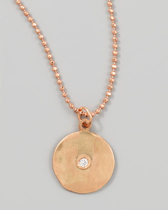 18k Rose Gold Diamond Disc Necklace