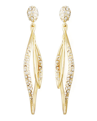 Miss Havisham Linear Pave Orbiting Post Earrings