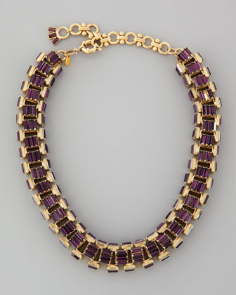 Yellow Gold-Plated Purple Crystal Baguette Necklace