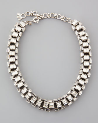 Silver-Plated Clear Crystal Baguette Necklace