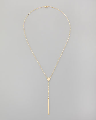 14k Gold Chime Lariat Necklace, 17