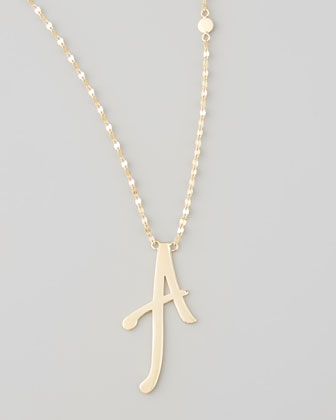 14k Gold Letter Necklace, A