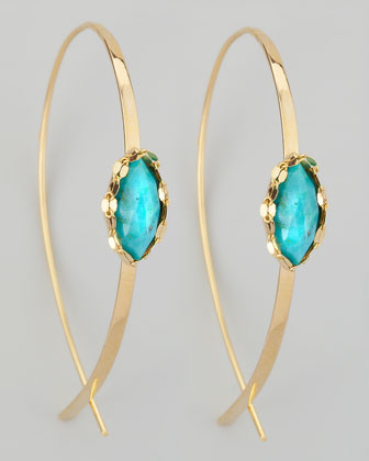 Small Flat Upside Down Hoops with Turquoise