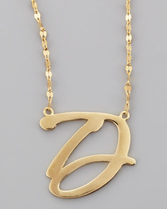 14k Gold Letter Necklace, D