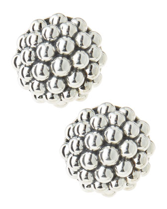 Bold Caviar Sterling Silver Omega Earrings