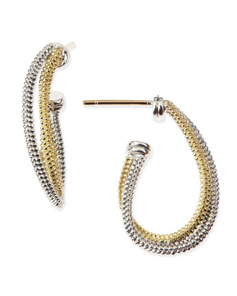 18k & Silver Twisted Hoop Earrings