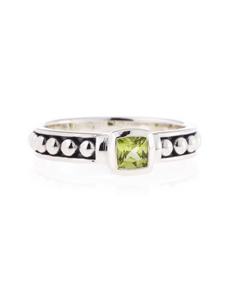 Peridot Caviar Ring, 4mm