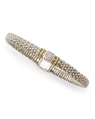 Diamond-Station Sterling & 18k Caviar Bracelet, 6mm