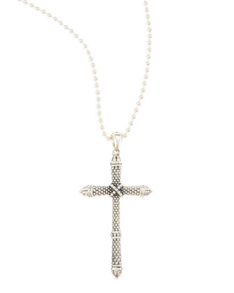 Silver Caviar Cross Pendant Necklace