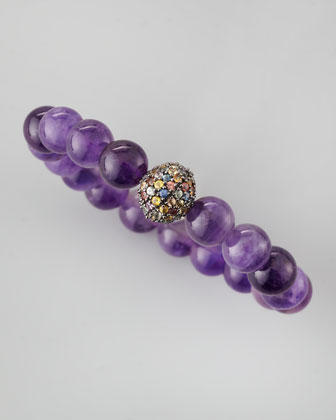 Amethyst Beaded Pave-Ball Bracelet