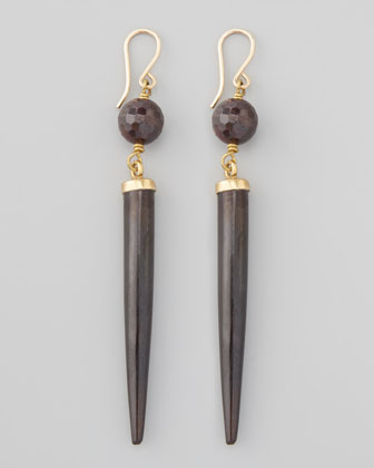 Garnet & Dark Horn Drop Earrings