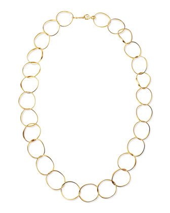 24k Gold Plate Wavy Oval-Link Necklace, 42