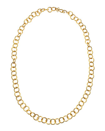 24k Gold Plate Classic Circle-Link Necklace, 42