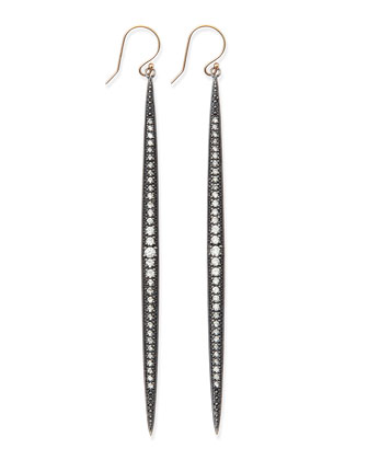 Shadow Silver Diamond Icicle Earrings