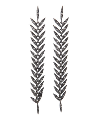 Long Leafy Diamond Earrings