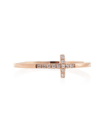 14k Rose Gold Pave Diamond Cross Ring