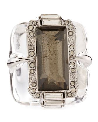Large Lucite & Pyrite Ring