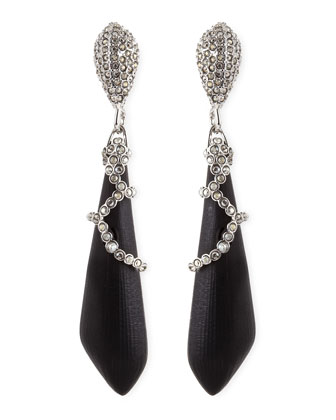 Medium Pave Crystal Lucite Earrings, Black