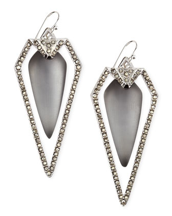 Pave Arrow Drop Earrings, Gray