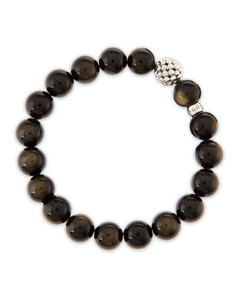 10mm Caviar-Ball Obsidian Beaded Stretch Bracelet