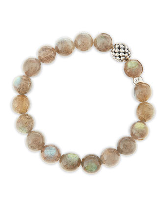 10mm Caviar-Ball Labradorite Beaded Stretch Bracelet