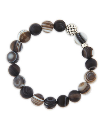 10mm Caviar-Ball Black Agate Beaded Stretch Bracelet