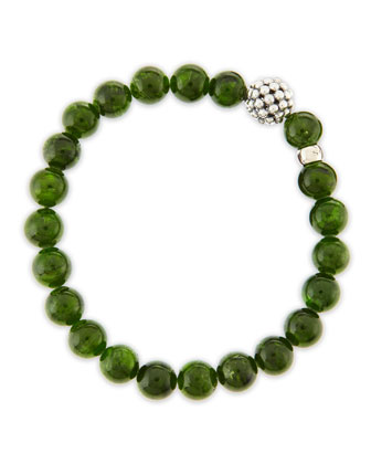 10mm Caviar-Ball Diopside Beaded Stretch Bracelet