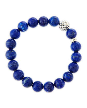 10mm Caviar-Ball Lapis Beaded Stretch Bracelet