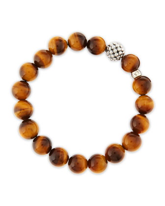10mm Caviar-Ball Tiger's Eye Beaded Stretch Bracelet
