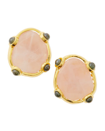 Pink Quartz Button Clip-On Earrings
