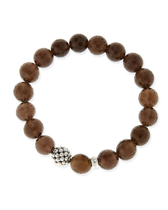 10mm Caviar-Ball Smoky Topaz Beaded Stretch Bracelet