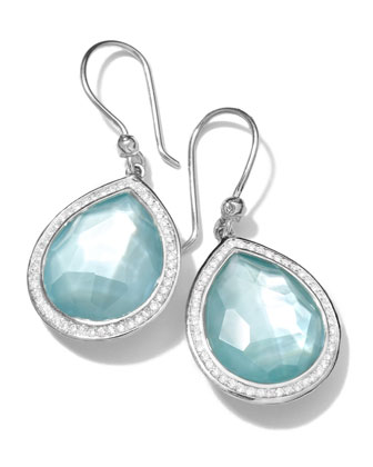 Silver Stella Blue Topaz & Diamond Teardrop Earrings