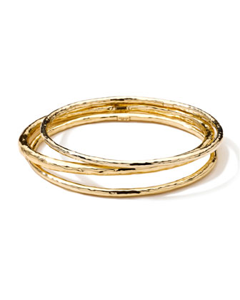 Hammered 18k Gold Bangles, Set of 3