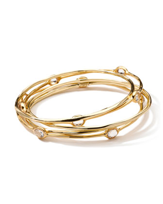 18-Karat Gold Clear Quartz Bangles, Set of 5