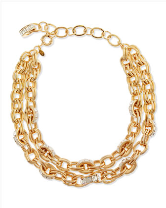 Double-Chain Pave-Link Necklace, Golden