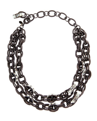 Double-Chain Pave-Link Necklace, Black