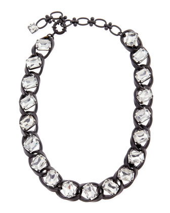 Clear Crystal Curb-Chain Necklace, Black