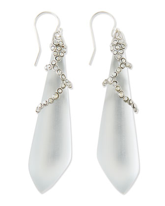 Long Crystal-Lattice Lucite Earrings, Silver