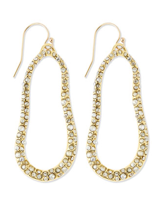 Large Golden Swarovski Crystal Oval Earrings