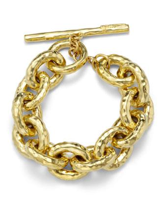 18k Hammered Bastille Link Bracelet