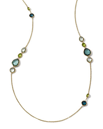 18k Long Multi-Stone Gelato Necklace, Tartan