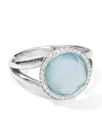 Stella Mini Lollipop Ring in Blue Topaz Doublet with Diamonds, 0.15