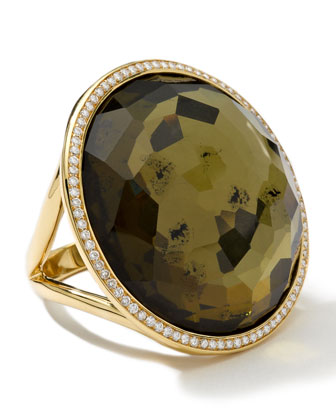 Large Diamond-Bezel Citrine/Pyrite Lollipop Ring