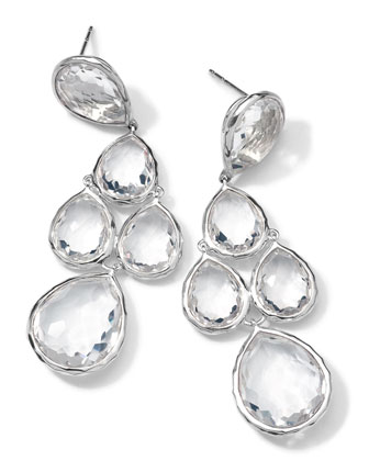 Sterling Silver Rock Candy 5-Stone Drop Earrings, Clear Quartz