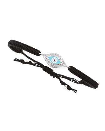 Pave Evil Eye Braided Cord Bracelet, Black