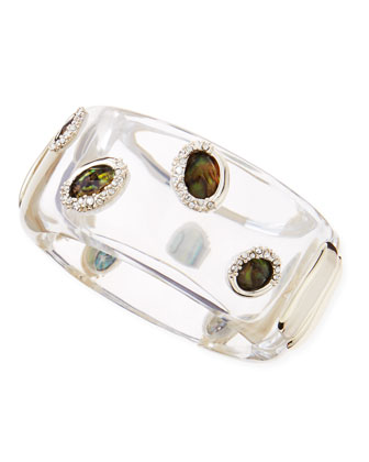 Large Clear Lucite & Smoky Quartz Bangle