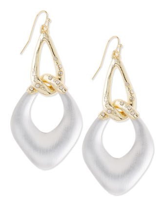 Opaque Silvery Lucite Link Earrings