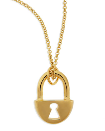 14k Gold-Plated Lock Pendant Necklace