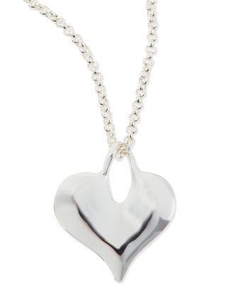 Silver-Plate Flat Heart Necklace